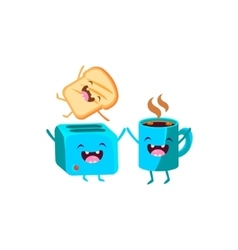 Toaster and coffee cartoon friends vector