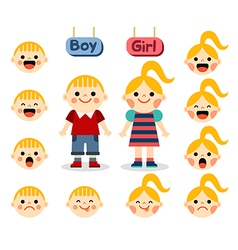 Cute girl and boy with different emotions vector