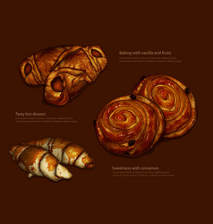 Advertising freshly baked rolls and croissants vector