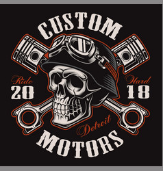 Biker skull with crossed pistons t-shirt design vector