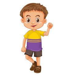 Boy wearing t-shirt and shorts vector