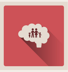 brain thinking in the family on red background vector image vector image