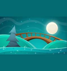 cartoon night landscape moon bridge fir sky vector image