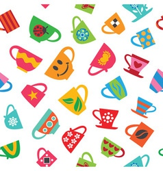 Colorful cups vector image vector image