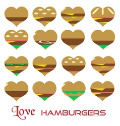 colorful hearts hamburgers styles simple icons vector image