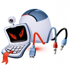 computer monster vector image vector image