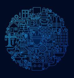 construction line icon concept circle vector image