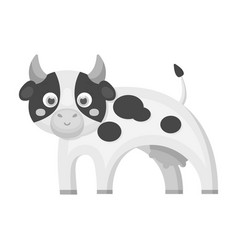 Cow single icon in monochrome stylecow vector
