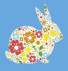Easter card with bunny from flowers vector