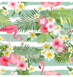 Flamingo background tropical flowers vector
