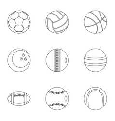 game equipment icons set outline style vector image vector image