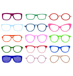 glasses colorful set summer vector image vector image