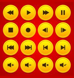 Gold media player audio video icon circle button vector