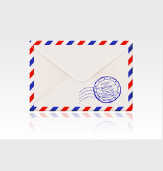 International mail envelope backside with postal vector