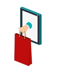Isolated shopping bag and tablet design vector image