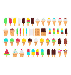 kinds of ice cream flat isolated on white vector image