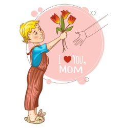 Little boy gives bouquet of tulips at mothers day vector image vector image