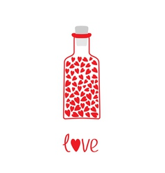 Love bottle with hearts inside Card vector image vector image