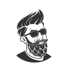 Man with beard in the form of hop emblem vector image vector image