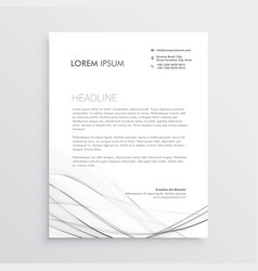minimal letterhead design with gray wavy shape vector image vector image