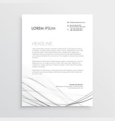 Minimal letterhead design with gray wavy shape vector