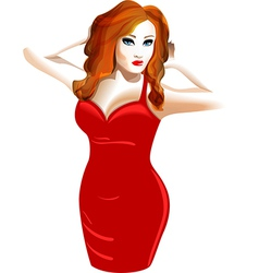 model in a red dress vector image