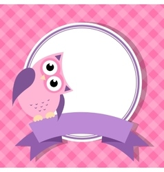 pink frame with owl for invitation card vector image vector image