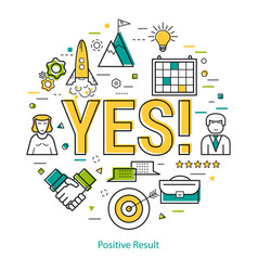 positive result - lineart vector image
