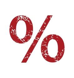 Red grunge percentage logo vector