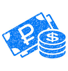 Rouble and dollar cash grunge icon vector