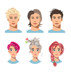 set of men and women with different hair vector image vector image