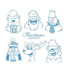 set of six christmas holidays vector image