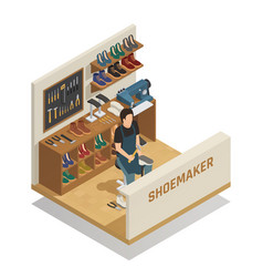 Shoe repairing service isometric composition vector