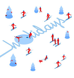 Skier has left a trace in form of word holidays vector