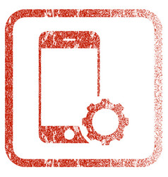 Smartphone setup gear framed textured icon vector