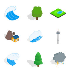 Strong point icons set isometric style vector