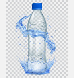 transparent plastic bottle with water crown and vector image