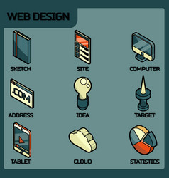 Web design color outline isometric icons vector