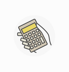 Hand holding calculator icon vector