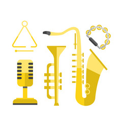 saxophone gold icon music classical sound vector image