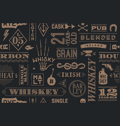 Seamless pattern with types of whiskey vector