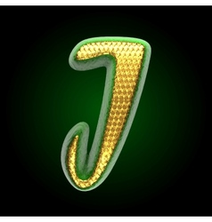 Golden and green letter j vector
