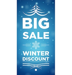 Big sale winter discount and snowflake in the vector