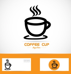 Coffe cup orange logo vector