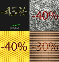 40 30 icon set of percent discount on abstract vector