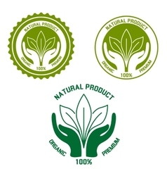 Natural product icon with hands and leaves vector