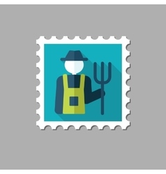 Farmers flat stamp with long shadow vector