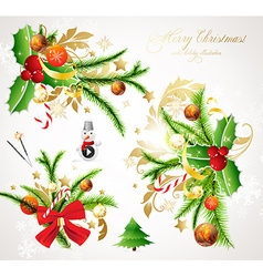 Christmas holly banner set vector