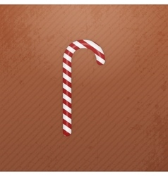 Realistic christmas white red striped candy cane vector