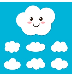 Flat design cartoon cute cloud character and set vector